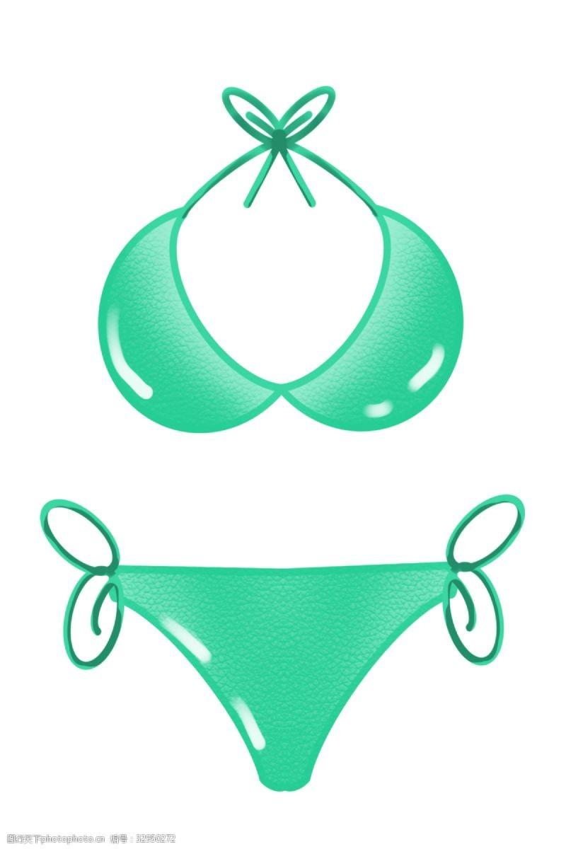 三点式夏日绿色比基尼