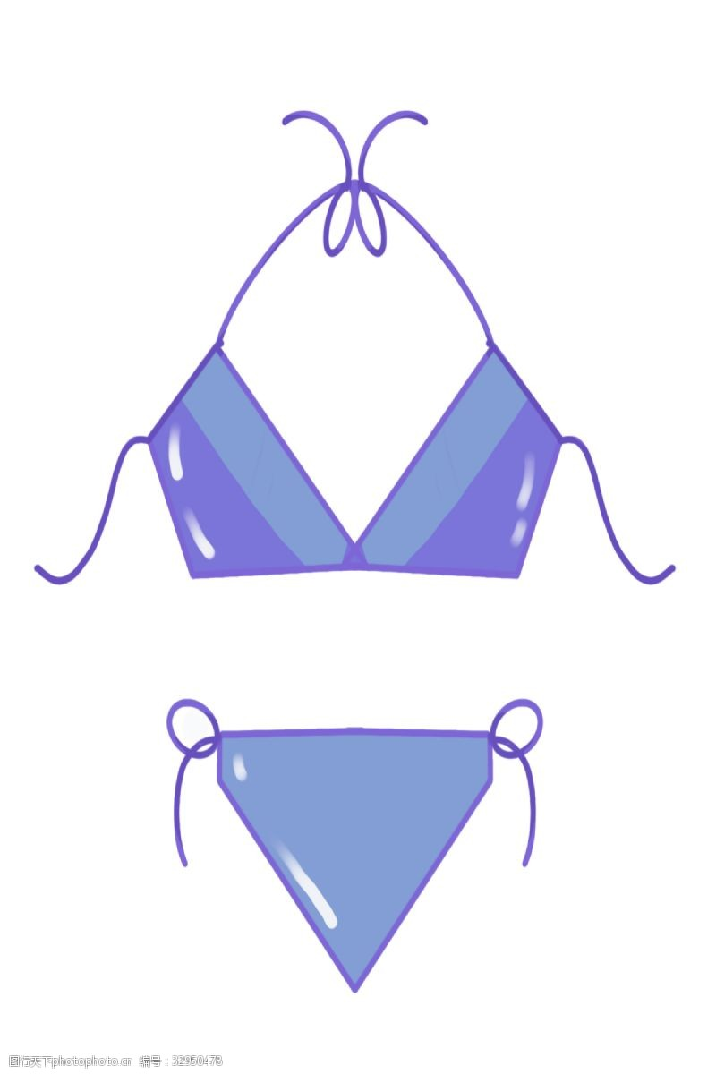 紫色三点式比基尼