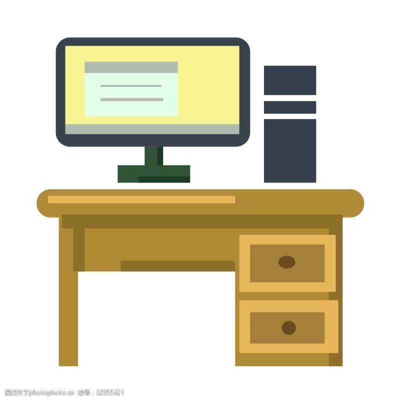 木质办公桌电脑图案