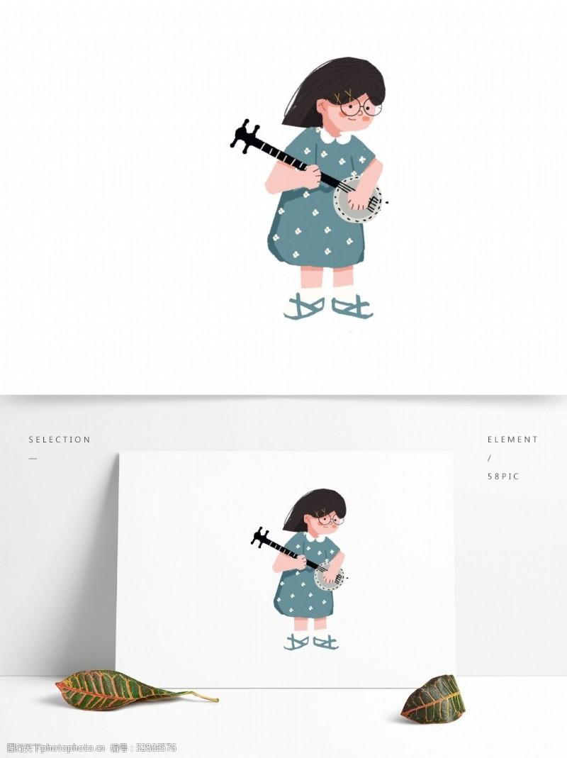 卡通可爱拉二胡的小女孩