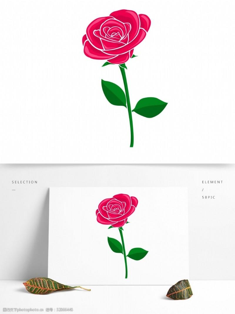 卡通玫瑰花玫瑰花可商用元素