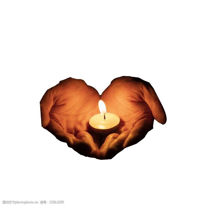 两只手手掌心和蜡烛免抠图
