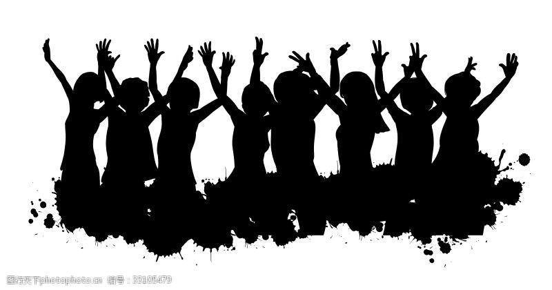 举手手势人物剪影