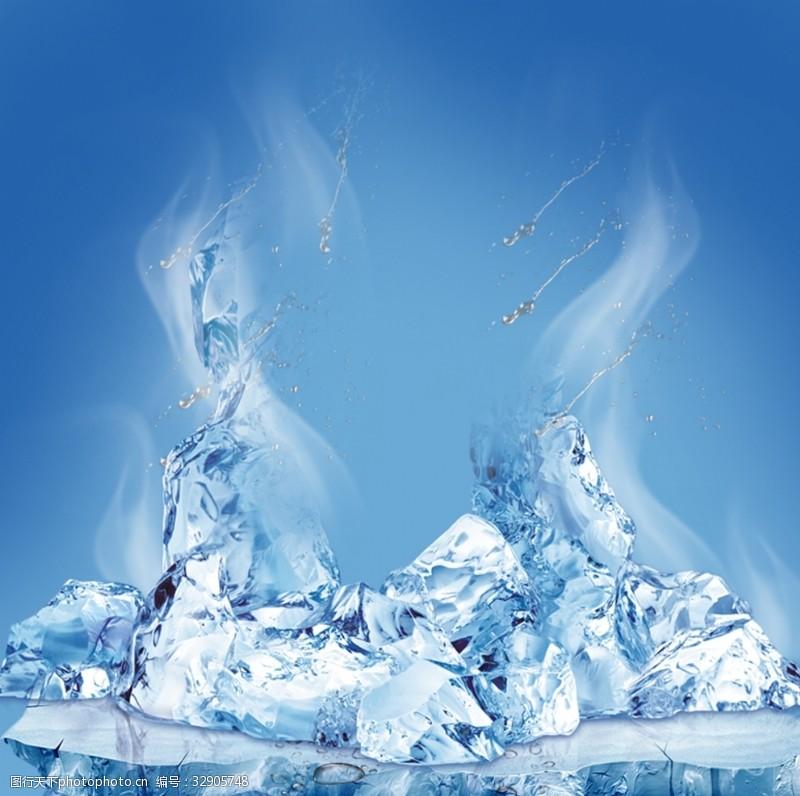 蓝色冰块背景素材分层图