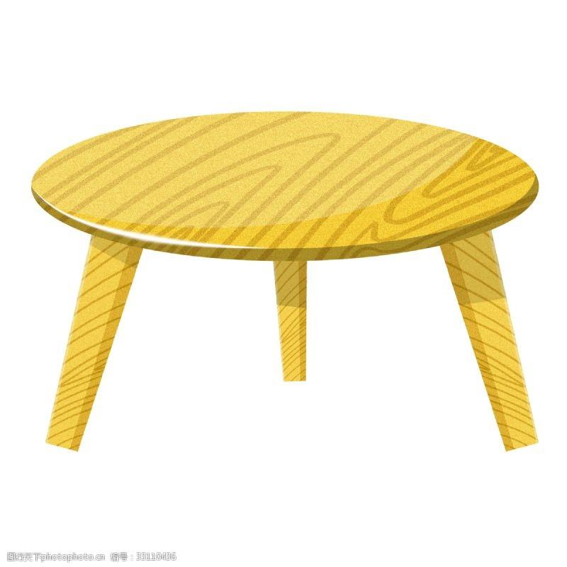 黄色木质小圆桌