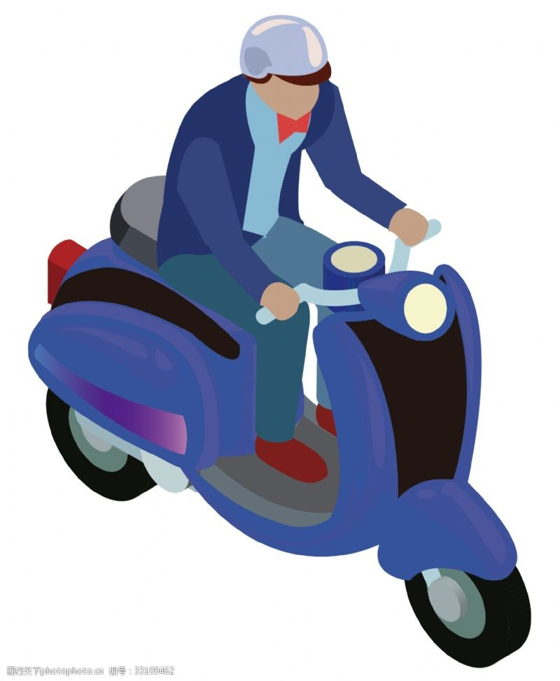 卡通矢量图案骑摩托车的男人卡通图案