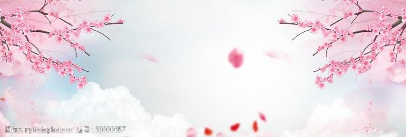 遇见樱花粉色小清新手绘桃花背景