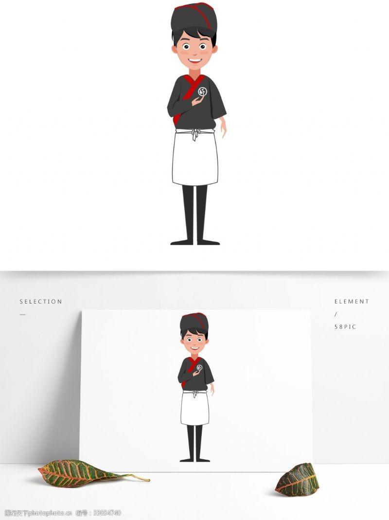 日本和服厨师卡通人物