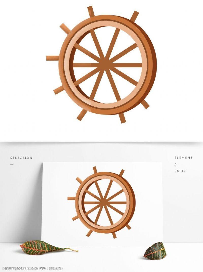 木质简约手绘水车透明素材