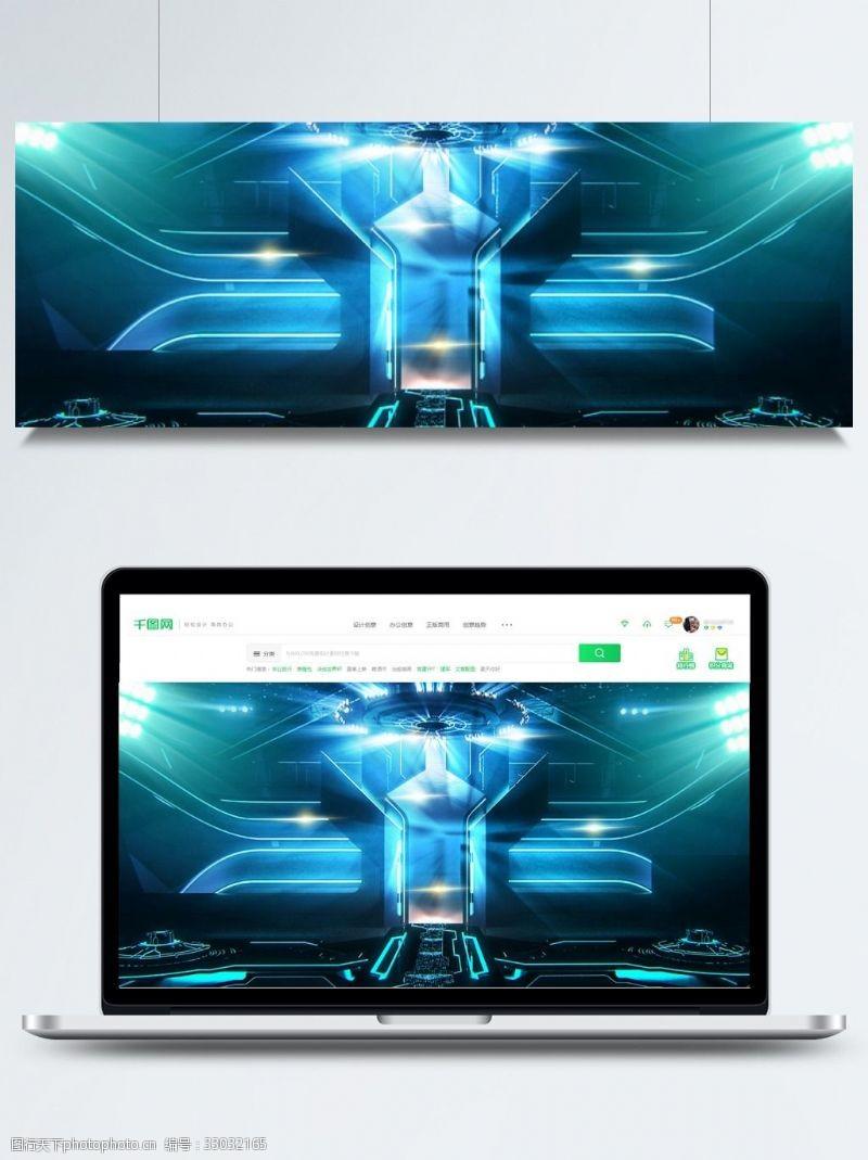 未来感背景科技感的蓝色光线背景