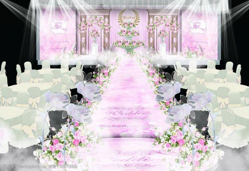 欧式喷泉粉色欧式婚礼舞台效果图