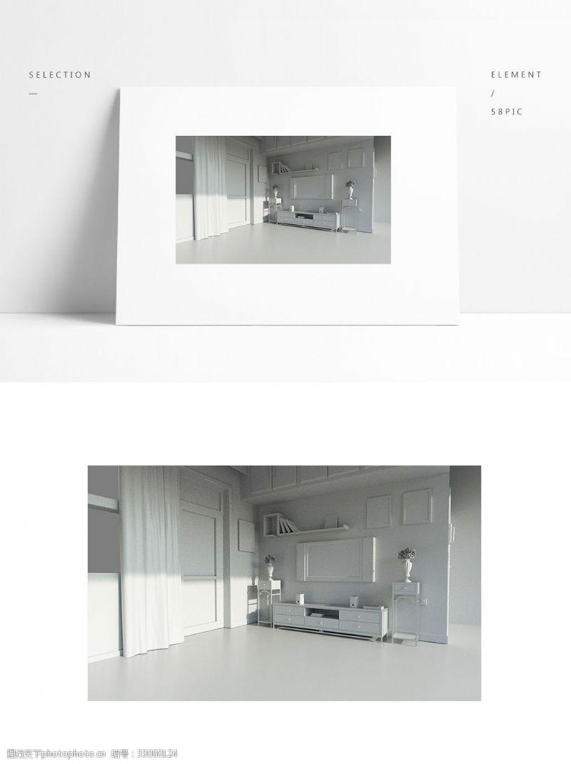 简约场景室内盆景模型