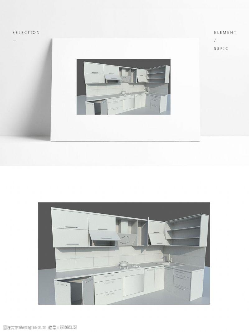 简约场景组合壁橱简约白模小场景