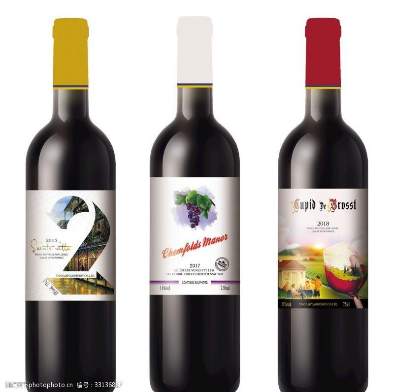 红酒酒标干红葡萄酒干白葡萄酒