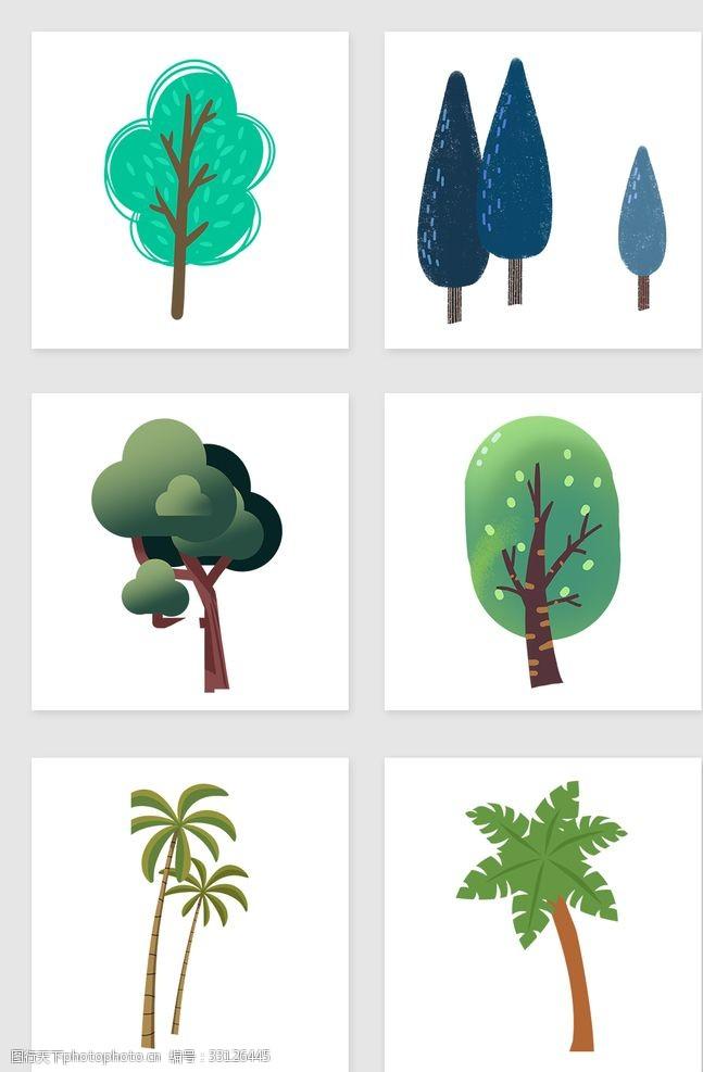 卡通树表情矢量树