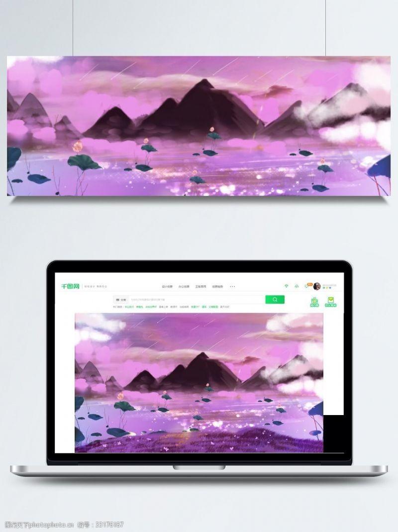 梦幻荷花紫色天空背景素材