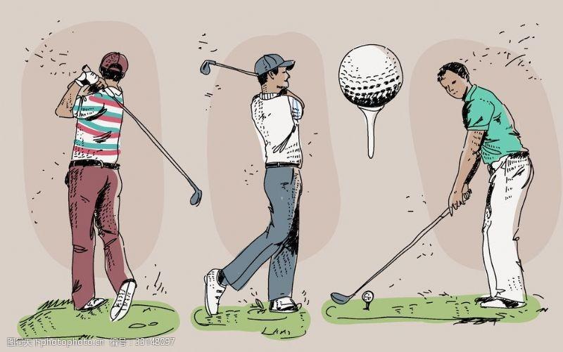高尔夫挥杆打高尔夫