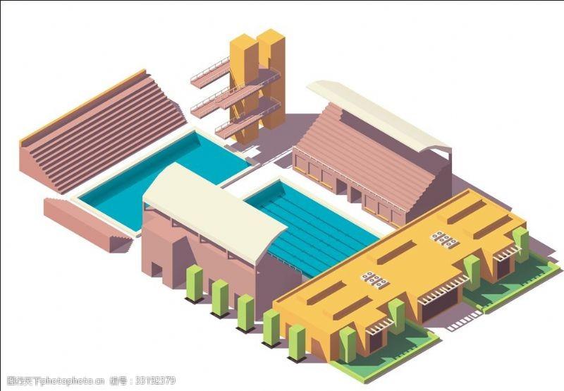 体育比赛游泳馆跳水台