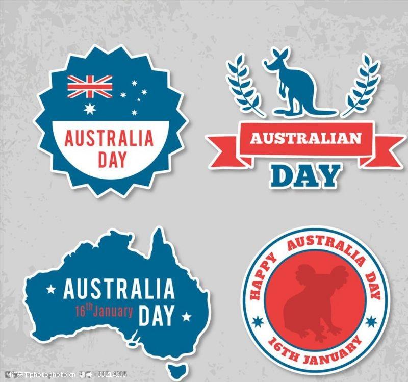 澳大利亚国旗4款创意澳大利亚日标签