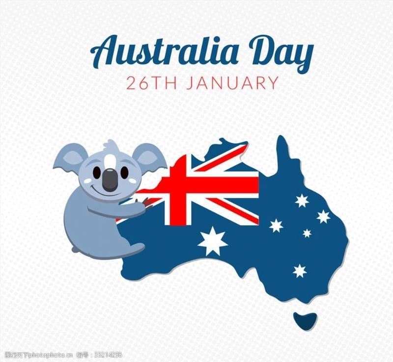 澳大利亚国旗可爱澳大利亚日考拉和地图