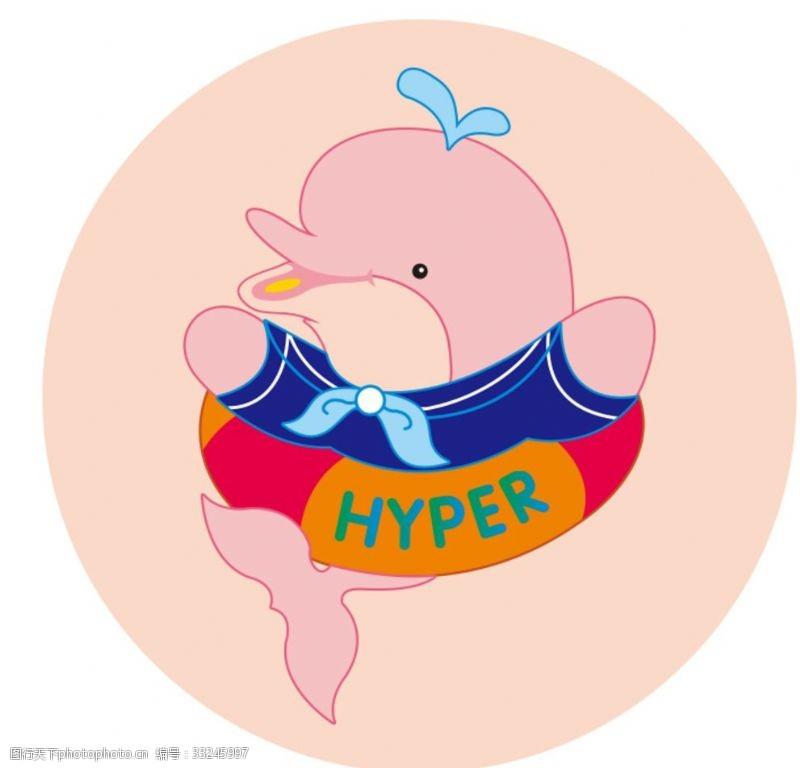 卡通矢量图案可爱矢量卡通海豚