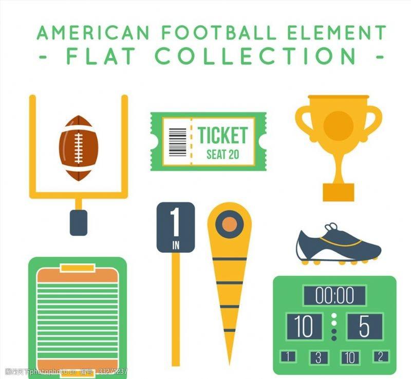 记分8款扁平化美式足球元素