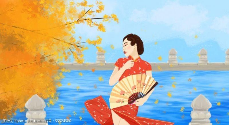 妩媚民国旗袍女子插画