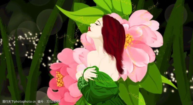 妩媚梦游仙境的女孩