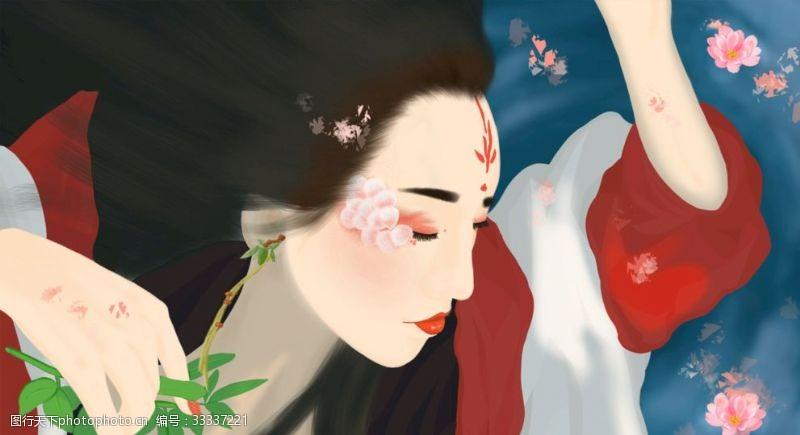 妩媚古风美女插画