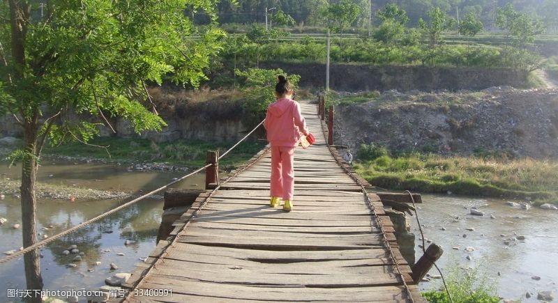 木头桥铁索桥吊桥