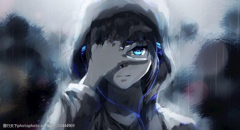 蓝眼睛动漫男孩耳机高清壁纸
