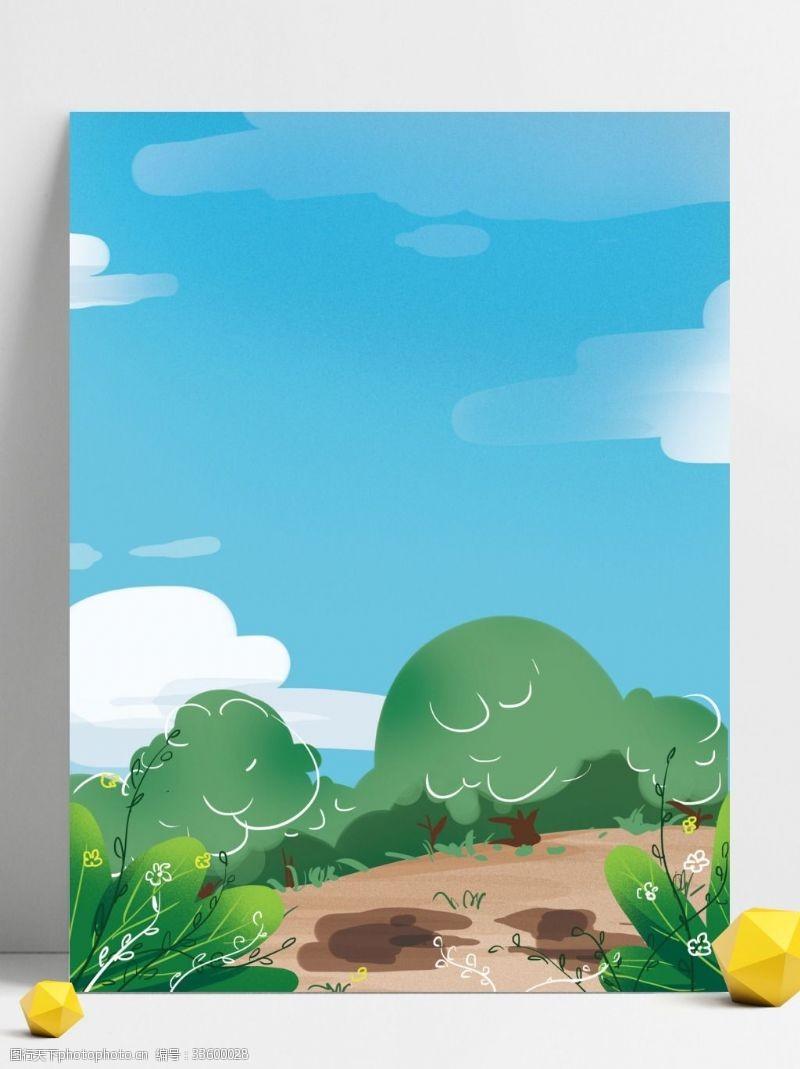背景展板图蓝天树林背景设计