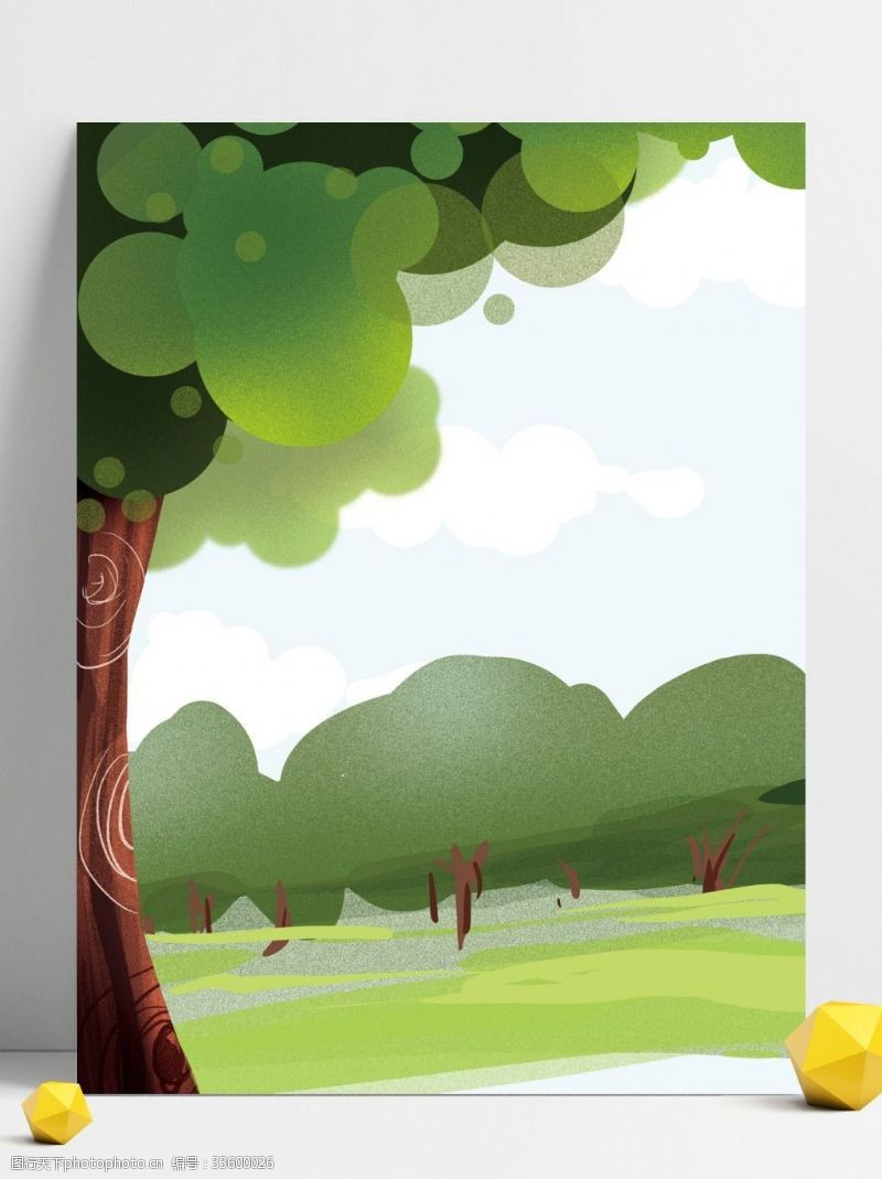 背景展板图手绘树林背景设计