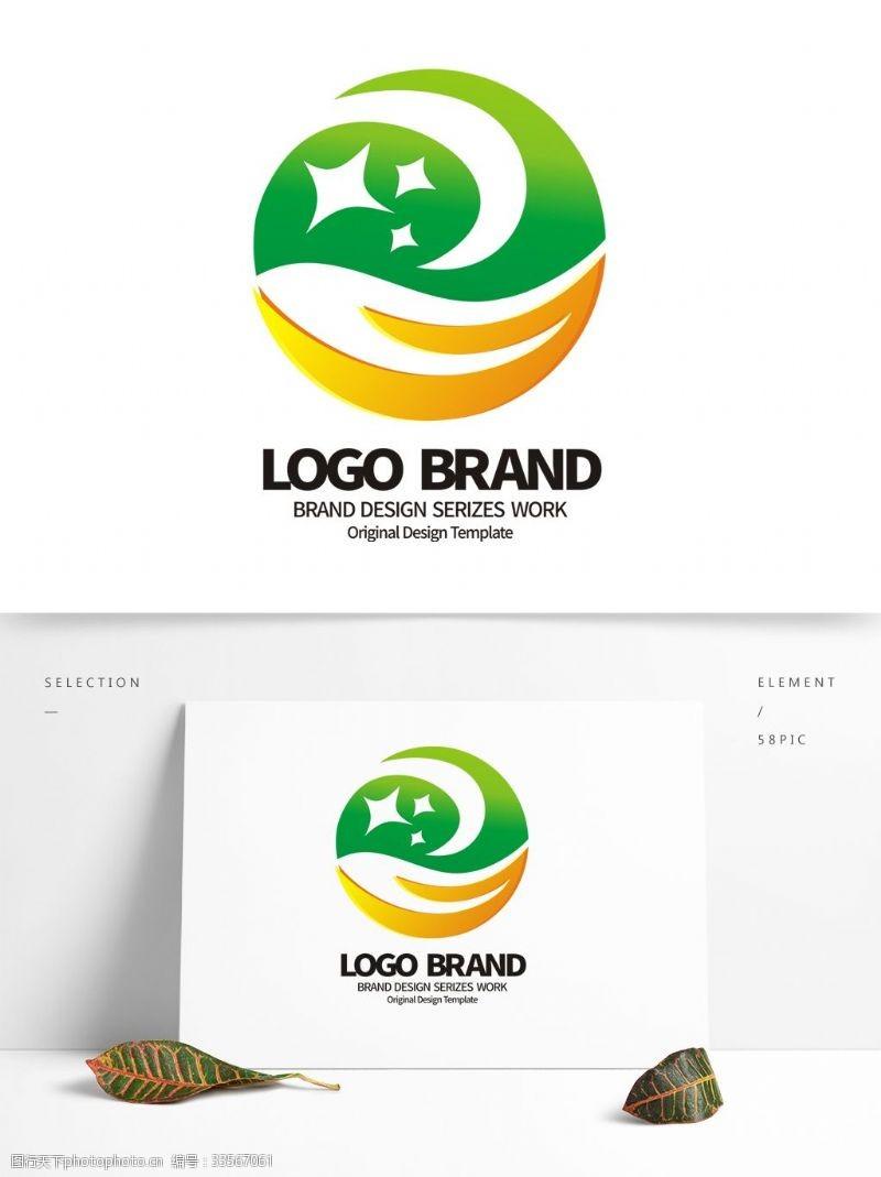 rohs标志矢量黄绿星形R字母公司LOGO标志设计